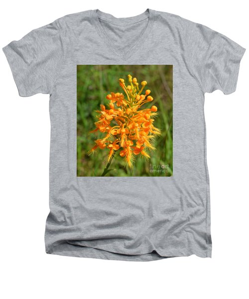 Men's V-Neck T-Shirt featuring the photograph School Bus Yellow by Lew Davis