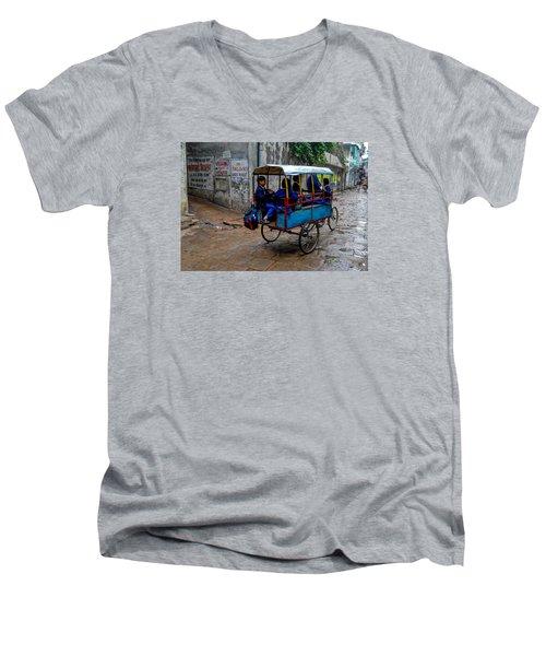 School Cart Men's V-Neck T-Shirt by M G Whittingham