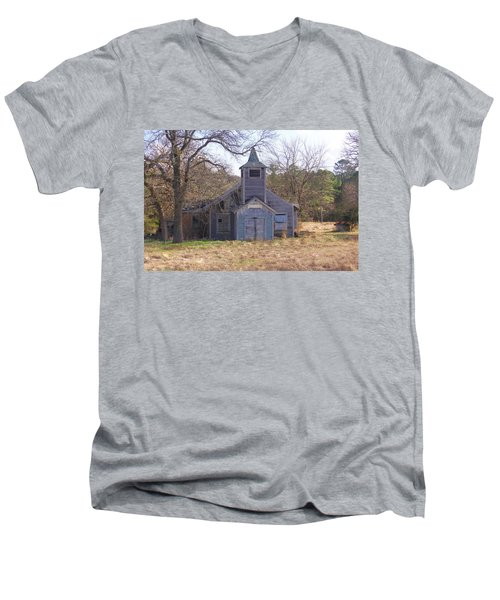 Men's V-Neck T-Shirt featuring the photograph Schoolhouse#3 by Susan Crossman Buscho