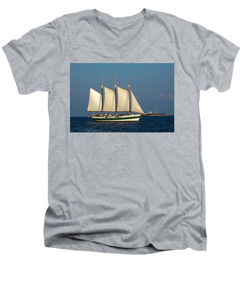 Schooner By Fort Sumter Men's V-Neck T-Shirt