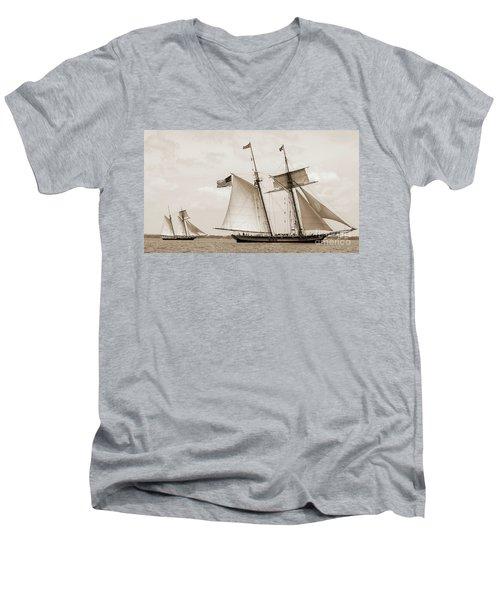 Schooners Pride Of Baltimore And Lynx Men's V-Neck T-Shirt