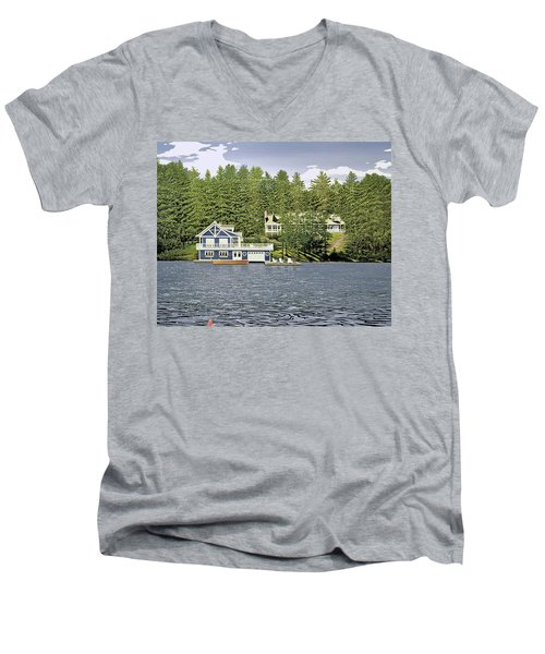 Men's V-Neck T-Shirt featuring the painting Schultz Summer Home Muskoka by Kenneth M Kirsch