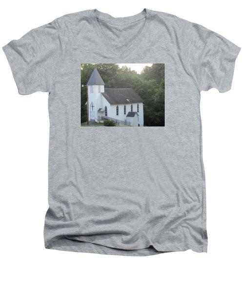 Schuyler Baptist Church Men's V-Neck T-Shirt by Charlotte Gray