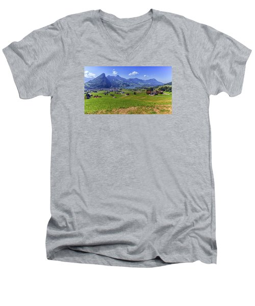 Schwyz And Zurich Canton View, Switzerland Men's V-Neck T-Shirt by Elenarts - Elena Duvernay photo