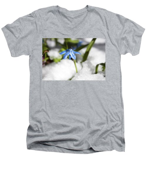 Scilla In Snow Men's V-Neck T-Shirt by Jeff Severson