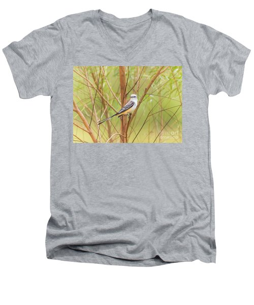 Men's V-Neck T-Shirt featuring the photograph Scissortail In Scrub by Robert Frederick