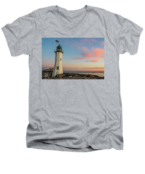 Scituate Lighthouse Scituate Massachusetts South Shore At Sunrise Men's V-Neck T-Shirt