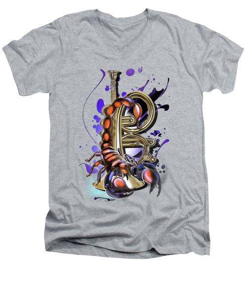 Scorpio Men's V-Neck T-Shirt by Melanie D