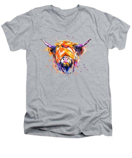Scottish Highland Cow Men's V-Neck T-Shirt