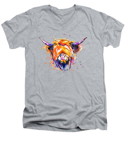 Scottish Highland Cow Men's V-Neck T-Shirt