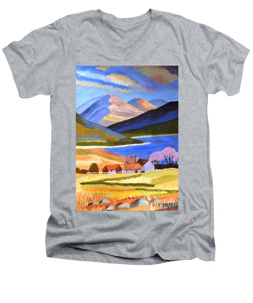 Men's V-Neck T-Shirt featuring the painting Scottish Highlands 2 by Magdalena Frohnsdorff