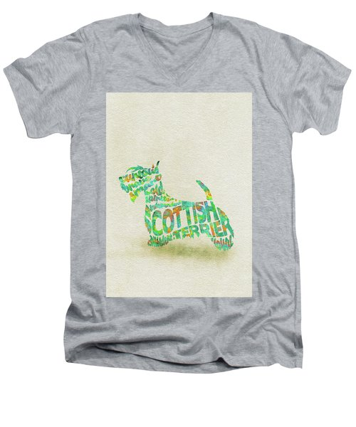 Men's V-Neck T-Shirt featuring the painting Scottish Terrier Dog Watercolor Painting / Typographic Art by Ayse and Deniz