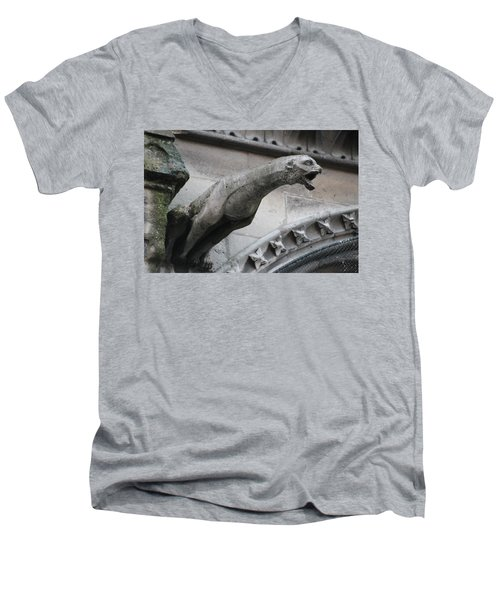 Men's V-Neck T-Shirt featuring the photograph Screaming Griffon Notre Dame Paris by Christopher Kirby