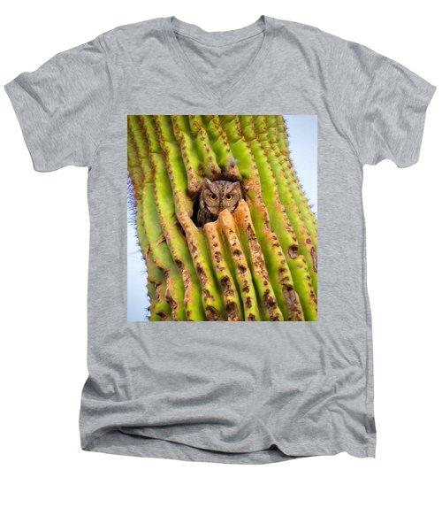 Screech Owl In Saguaro Men's V-Neck T-Shirt