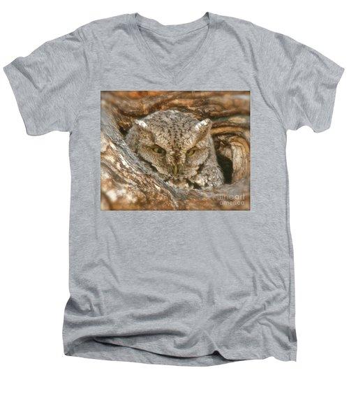 Screech Owl On Spring Creek Men's V-Neck T-Shirt