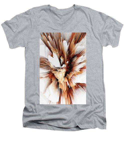 Men's V-Neck T-Shirt featuring the digital art Sculptural Series Digital Painting 23.120210ext5100l by Kris Haas