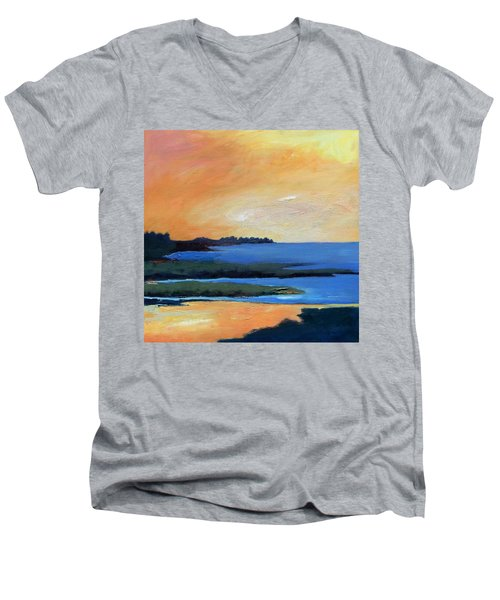Men's V-Neck T-Shirt featuring the painting Sea And Sky by Gary Coleman