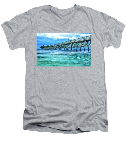 Sea Blue Cherry Grove Pier Men's V-Neck T-Shirt