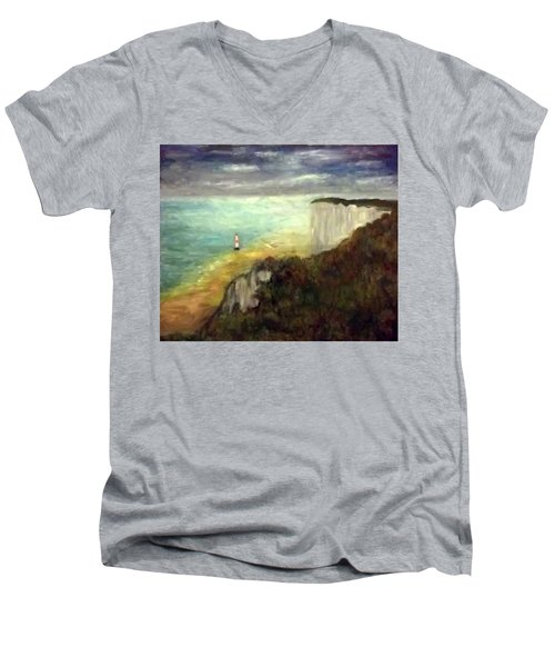 Sea, Cliffs, Beach And Lighthouse Men's V-Neck T-Shirt