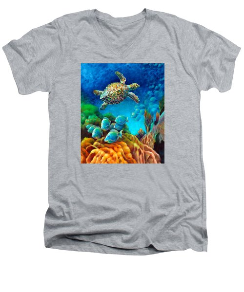Men's V-Neck T-Shirt featuring the painting Sea Escape IIi - Gemstone Hawksbill Turtle by Nancy Tilles