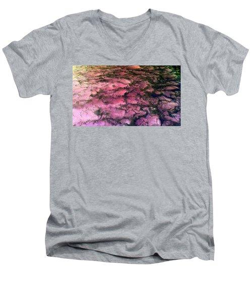 Sea Foam Pinkish Black Men's V-Neck T-Shirt