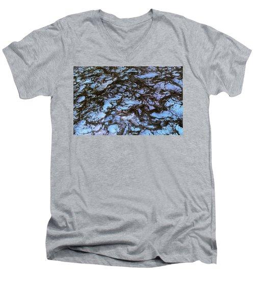 Sea Foam Black And Blue Men's V-Neck T-Shirt