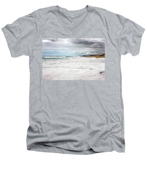 Men's V-Neck T-Shirt featuring the photograph Sea Foam And Clouds By Kaye Menner by Kaye Menner