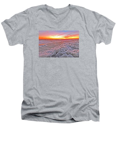 Men's V-Neck T-Shirt featuring the photograph Sea Foam Sunset by Shelia Kempf