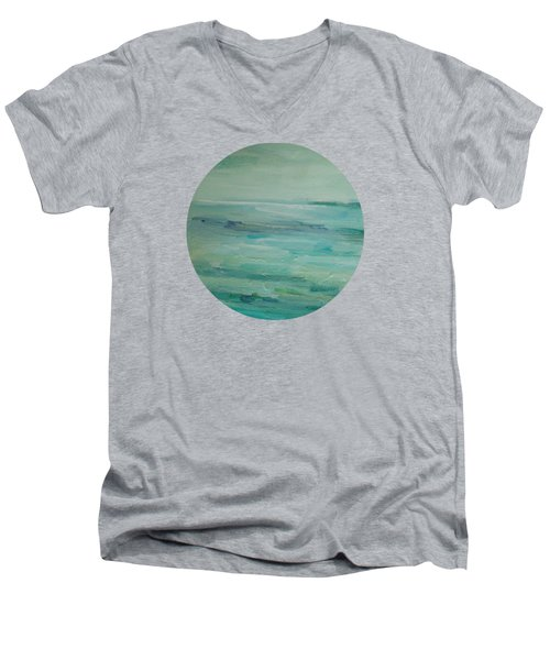 Men's V-Neck T-Shirt featuring the painting Sea Glass by Mary Wolf
