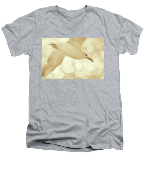 Men's V-Neck T-Shirt featuring the photograph Sea Gull On Neutral Bokeh Background by Peggy Collins