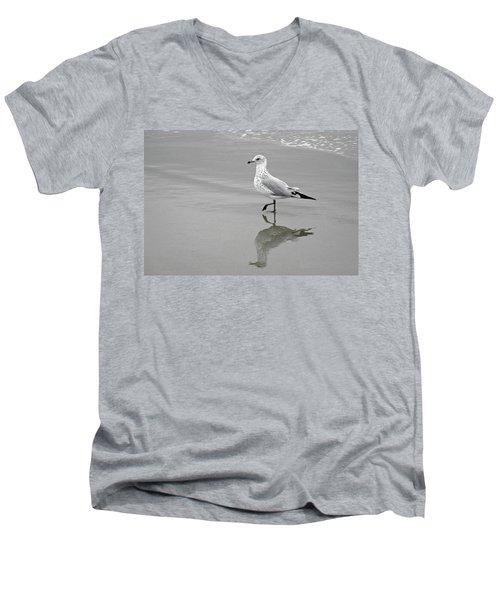 Sea Gull Walking In Surf Men's V-Neck T-Shirt