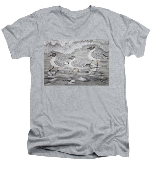 Men's V-Neck T-Shirt featuring the painting Sea Gulls Dodging The Ocean Waves by Kathy Marrs Chandler