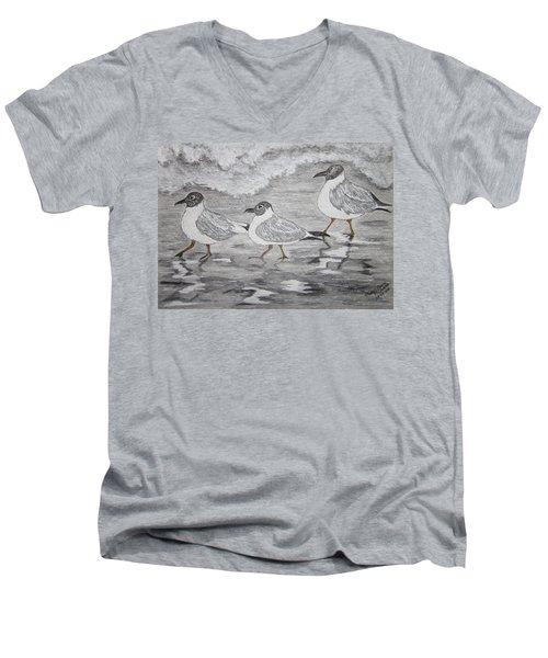 Sea Gulls Dodging The Ocean Waves Men's V-Neck T-Shirt by Kathy Marrs Chandler