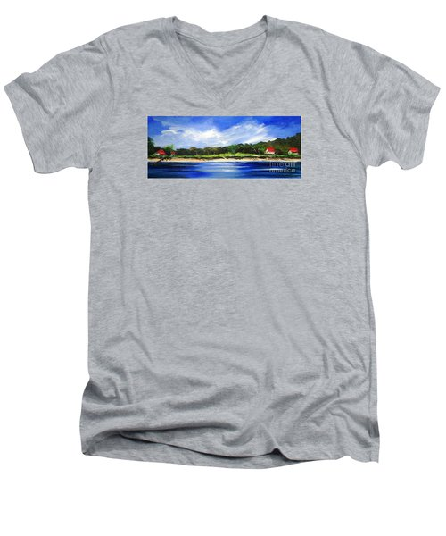 Men's V-Neck T-Shirt featuring the painting Sea Hill Houses - Original Sold by Therese Alcorn