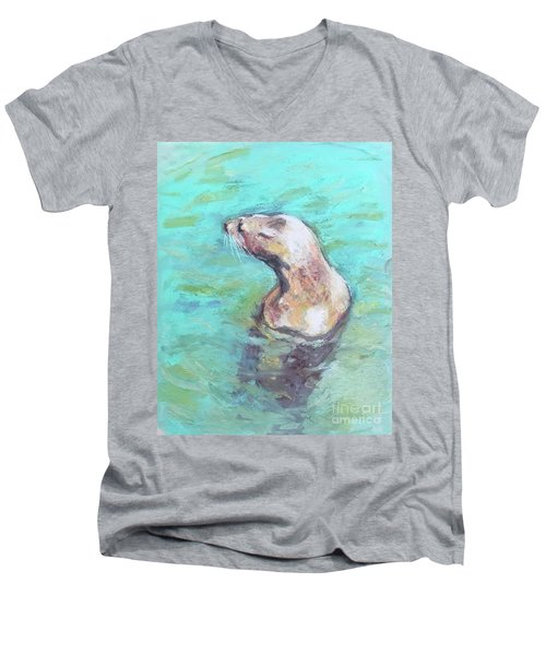 Sea Lion Men's V-Neck T-Shirt by Yoshiko Mishina