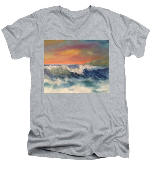 Men's V-Neck T-Shirt featuring the painting Sea Mist by Denise Tomasura