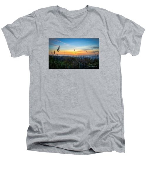 Sea Oats Sunrise Men's V-Neck T-Shirt by David Smith