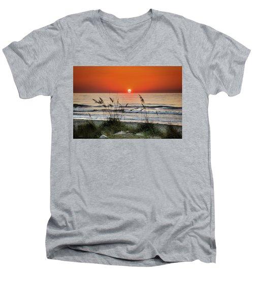 Sea Oats Sunrise Men's V-Neck T-Shirt by Phil Mancuso