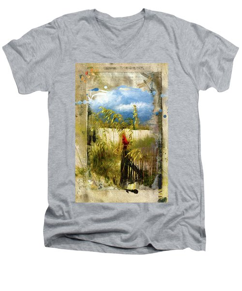 Sea Oats With Cardinal Men's V-Neck T-Shirt
