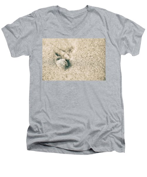 Men's V-Neck T-Shirt featuring the photograph Sea Shell On Beach  by John McGraw