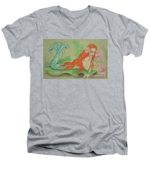 Sea Siren, Resting -- Whimsical Mermaid Drawing Men's V-Neck T-Shirt