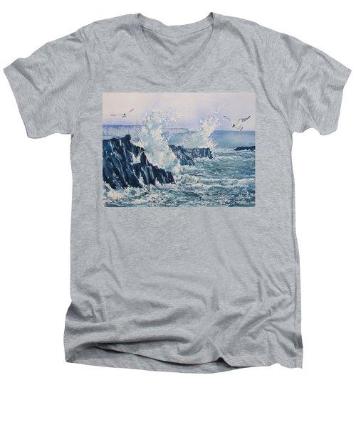 Sea, Splashes And Gulls Men's V-Neck T-Shirt