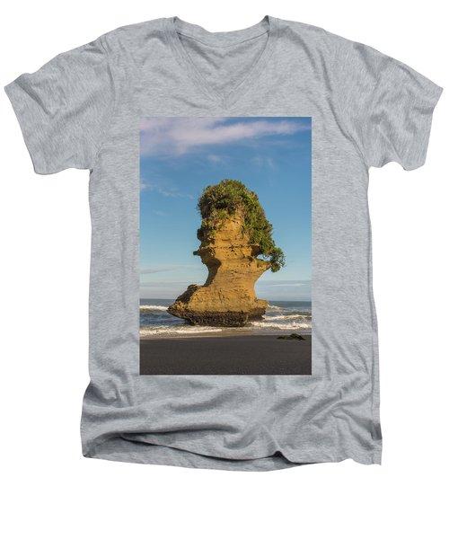 Men's V-Neck T-Shirt featuring the photograph Sea Stack, Punakaiki Beach by Gary Eason