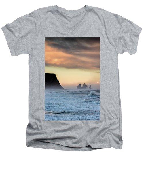 Men's V-Neck T-Shirt featuring the photograph Sea Stacks by Allen Biedrzycki