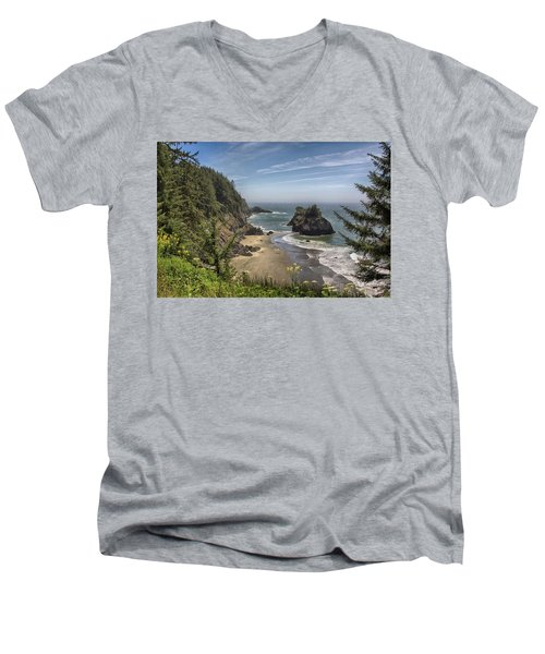Sea Stacks And Wildflowers Men's V-Neck T-Shirt