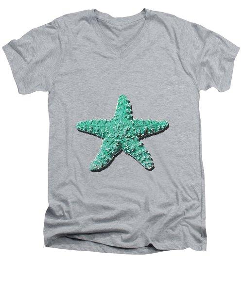 Sea Star Aqua .png Men's V-Neck T-Shirt by Al Powell Photography USA