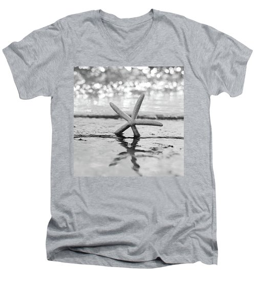 Sea Star Bw Men's V-Neck T-Shirt by Laura Fasulo