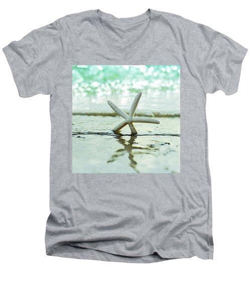 Sea Star Men's V-Neck T-Shirt by Laura Fasulo