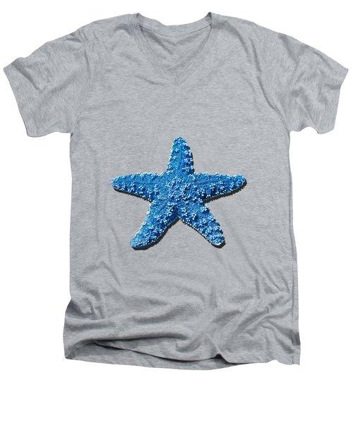 Sea Star Medium Blue .png Men's V-Neck T-Shirt by Al Powell Photography USA