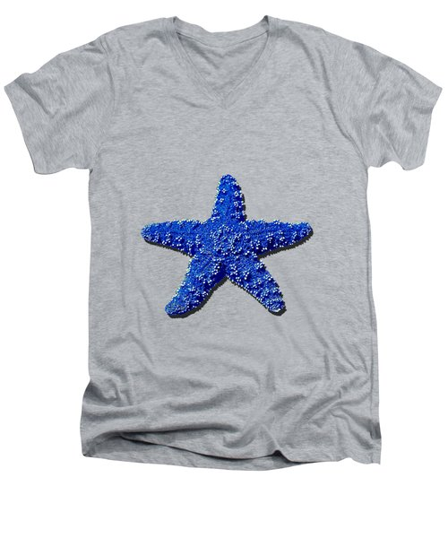 Sea Star Navy Blue .png Men's V-Neck T-Shirt